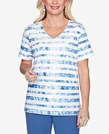 Plus Size Tie-Dye Striped Short Sleeve Knit Top