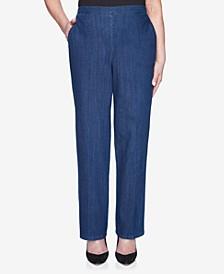 Plus Size Pull On Back Elastic Proportioned Short Denim Jean Pant