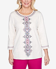 Plus Size Three Quarter Sleeve Medallion Center Embroidered Knit Top
