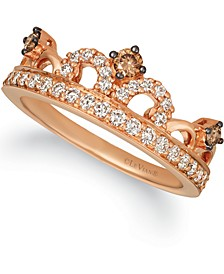 Chocolate Diamond (1/6 ct. t.w.) & Nude Diamond (3/8 ct. t.w.) Tiara Ring in 14k Rose Gold