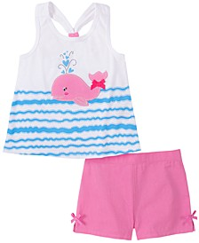 Toddler Girls 2-Piece Whale Racerback Top and Twill Shorts Set