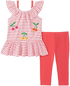 Little Girls 2-Pc. Ruffled Cherries Top & Leggings Set
