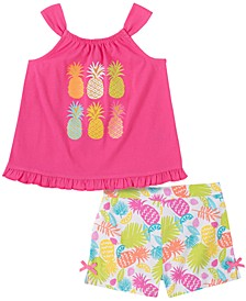 Toddler Girls 2-Piece Flare Pineapple Top and Twill Shorts Set