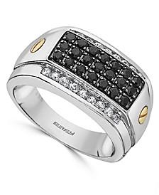 EFFY® Men's Black Sapphire (3/4 ct. t.w.) & White Sapphire (3/8 ct. t.w.) in Sterling Silver & 14k Gold