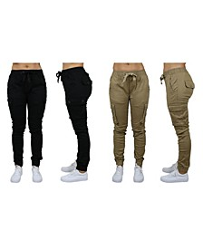 Women's Cotton Stretch Twill Cargo Joggers, Pack of 2