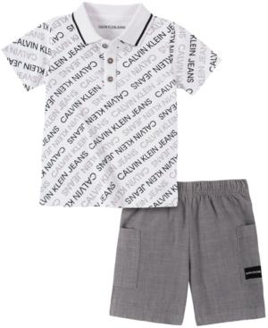 Calvin Klein Baby Boys 2-Pc. Logo-Print Polo & Shorts Set