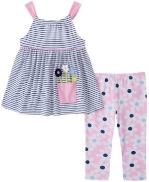 Kids Headquarters Baby Girls 2-Pc. Striped Flower Pot Tunic & Daisy-Print Leggings Set