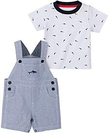 Baby Boys 2-Pc. Shark-Print T-Shirt and Shortalls Set