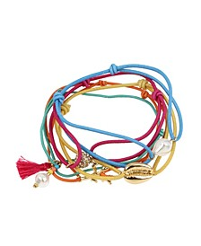 Puka Shell Charm Mixed Stretch Bracelet Set