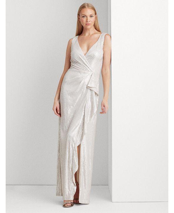 Lauren Ralph Lauren Sequined Surplice Gown
