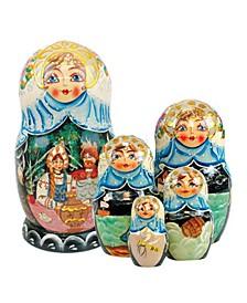 5 Piece Boyar Wedding Russian Matryoshka Nested Doll Set
