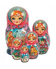 Father Frost 5 Piece Russian Matryoshka Stacking Dolls Set