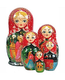 5 Piece Scarlet Flower Russian Matryoshka Nested Doll Set