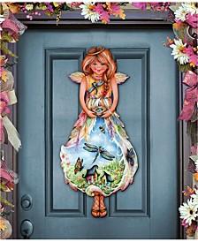 Nature Blessing Angel Over The Door Wooden Door Hanger by Jamie Mills Price