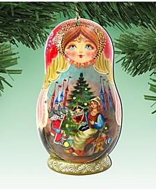Matreshka Doll Wooden Ornaments, Set of 2