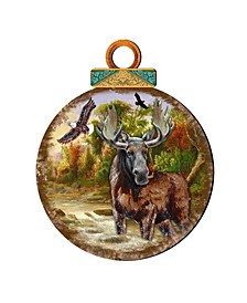 Woodsy Moose Ball Wooden Ornaments, Set of 2