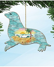 Sea Lions Wooden Ornaments Set of 2