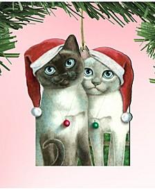 Angels Santa Cat Wooden Ornament by Laura Seeley Pets Decor Set of 2