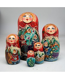 Happiest of The Holidays 5 Piece Russian Matryoshka Nested Dolls Set