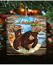 Bear Cabin Wooden Christmas Ornament, Set of 2
