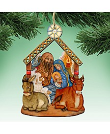 Nativity Wooden Christmas Ornament, Set of 2