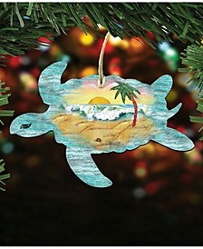 Turtle Scenic Wooden Christmas Ornament Set of 2