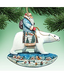 Santa Polar Bear Wooden Christmas Ornament, Set of 2