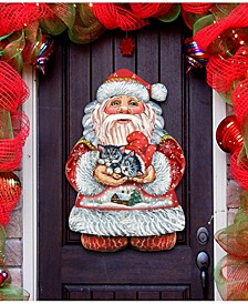 Kitten Holiday Santa Christmas Door Hanger