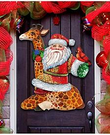 Santa on Giraffe Christmas Door Hanger