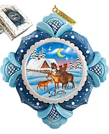Hand Painted Scenic Ornament Moose Family