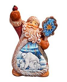 Hand Painted Santa Polar Bear Ornament Figurine with Scenic Painting