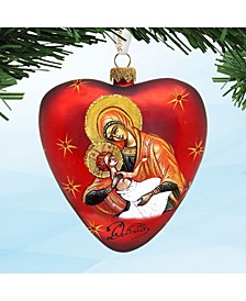 Mary and Jesus Heart Hand Painted Glass Ornament