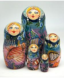 Sea Princess 5 Piece Russian Matryoshka Stacking Dolls Set