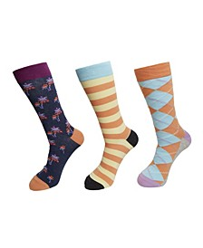 3-Pack Striped Palm Socks