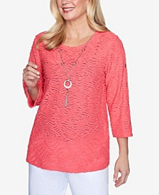 Plus Size 3/4 Sleeve Solid Grommet Sleeve Top with Detachable Necklace