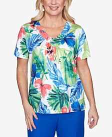Plus Size Watercolor Tropical Embellished Yoke Knit Short Sleeve Knit Top