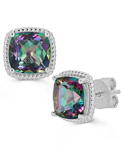Macy's Mystic Topaz Cushion Stud Earrings (7 ct. t.w.) in Sterling Silver (Also Available in Pink Amethyst & Green Amethyst)