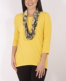 Women's Textured Knit Pullover Top and Scarf Set