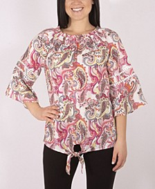 3/4 Sleeve Printed Peasant Blouse with Tie Front
