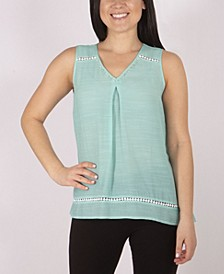 Women's Sleeveless V Neck Top with Beads and Trim
