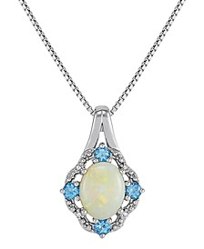 "Opal (1 ct. t.w.), Swiss Blue Topaz (1/3 ct. t.w.) & Diamond Accent 18"" Pendant Necklace in Sterling Silver"