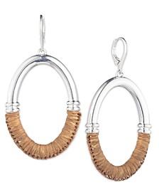 Silver-Tone Raffia-Wrapped Oval Link Drop Earrings