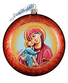 Mary and Jesus Medal Glass Ornament