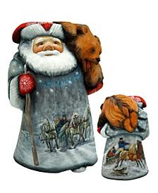 Woodcarved Hand Painted Troika W Bear Santa Figurine