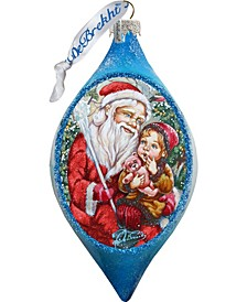 Teddy Bear Santa Drop Glass Ornament