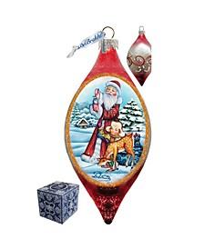 Santa Kids Drop Glass Ornament