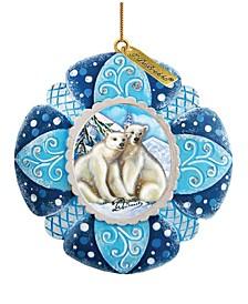 Hand Painted Alaska Polar Bear Scenic Ornament