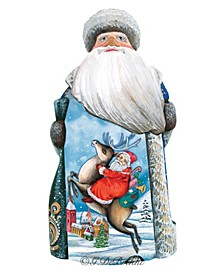 Woodcarved Hand Painted Santa Village Fawn Figurine