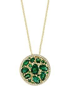 "EFFY® Emerald (3-1/4 ct. t.w.) & Diamond (1/5 ct. t.w.) 18"" Pendant Necklace in 14K Gold"