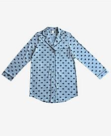 Cookie Monster Notched Collar Button Down Women's Sleep Shirt
